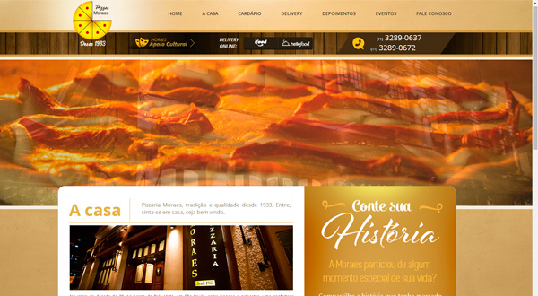 Novo site Pizzaria Moraes