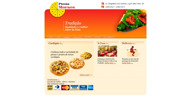 Site Antigo Pizzaria Moraes
